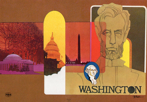 TWA Ambassador Service, Washington Menu Art by Bob Peak 1973