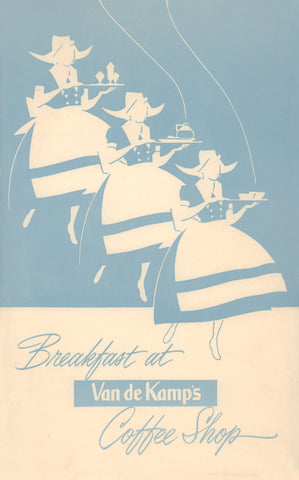 Van de Kamp Coffee Shop Breakfast Menu, California 1950s Menu Art