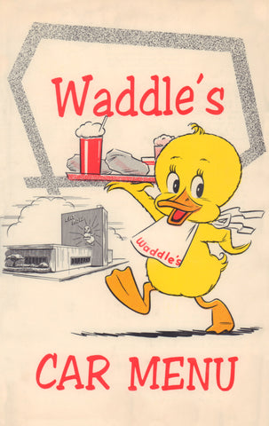 Waddle's Car Menu for Kids Portland, Oregon, 1950s