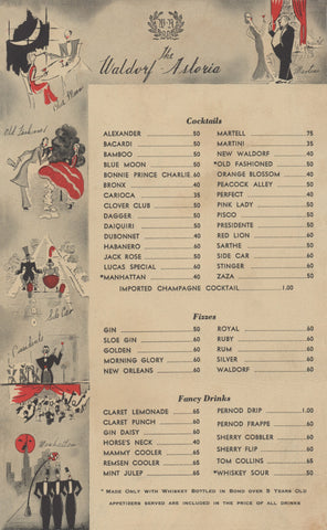 Waldorf Astoria Cocktails, New York 1930s Menu Art
