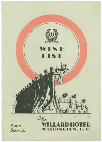 Willard Hotel, Washington D.C. 1936 Menu Art
