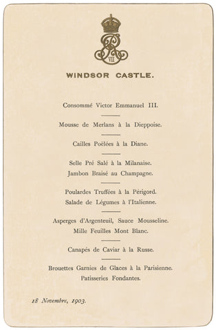 Windsor Castle Lunch November 18 1903 Menu Art