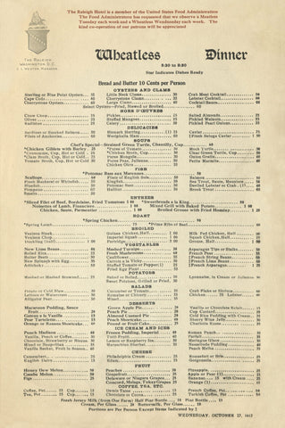 The Raleigh Hotel Wheatless Dinner, Washington D.C. 1917 Menu Art