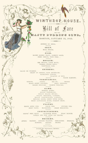 Winthrop House Boston 1852 Vintage Menu Henry B Voigt Collection