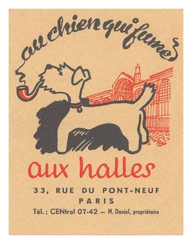 Au Chien Qui Fume, Paris 1950s Menu Art