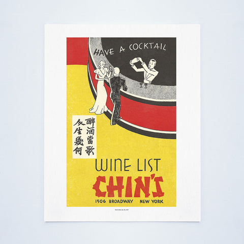 Chin's Wine List, New York, 1937 Vintage Menu Art