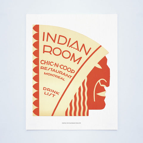 Indian Room, Chic-N-Coop Restaurant, Montreal, 1950 Vintage Menu