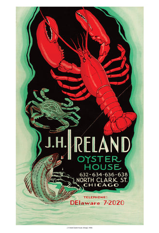 J H Ireland Chicago 1940s Vintage Menu Cover