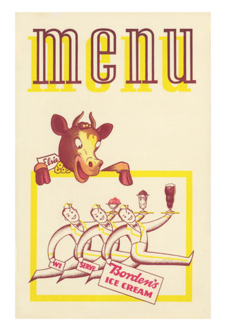 Mission Creamery San Francisco 1950s Menu Art