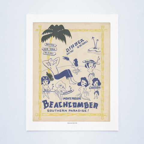 Monte Proser's Beachcomber, Boston, 1940s Vintage Menu Art