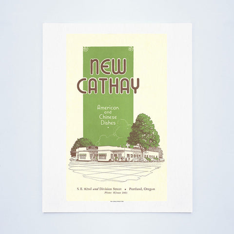 New Cathay, Portland 1940 Vintage Menu Art