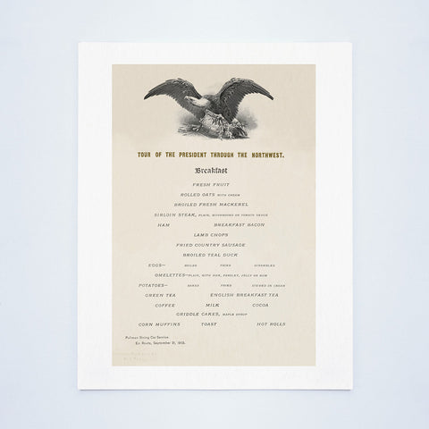 Tour Of President Theodore Roosevelt Through The Northwest 1902 - Breakfast Menu