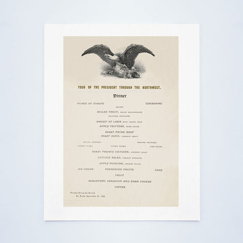 Tour Of President Theodore Roosevelt Through The Northwest 1902 - Dinner Menu