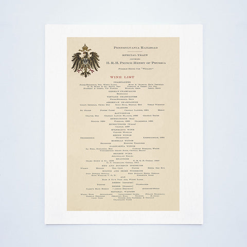 "Wine List For Prince Henry of Prussia's Pullman Dining Car ""Willard"" 1902"