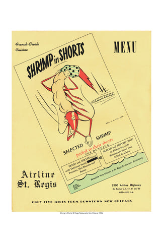Shrimp in Shorts New Orleans Vintage 1950s Menu