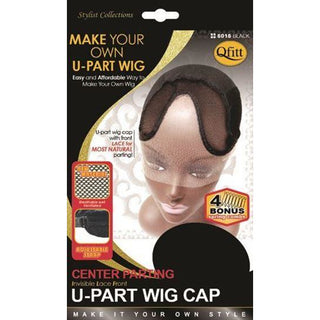 Qfitt Center Parting U-Part Wig Cap #5016 - Black - Beauty Krew