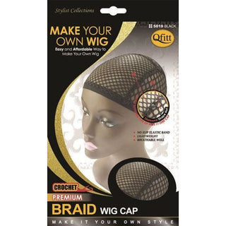 Qfitt Crochet Premium Braid Wig Cap #5029 - Black - Beauty Krew