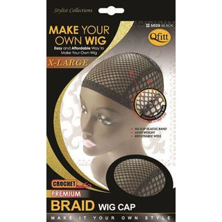 Qfitt X-Large Crochet Premium Braid Wig Cap #5019 - Black - Beauty Krew