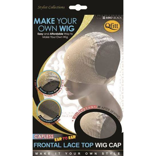 Qfitt Capless Frontal Lace Wig Top Wig Cap #5067 - Black - Beauty Krew