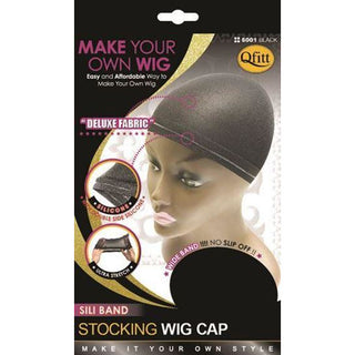 Qfitt Sili Band Stocking Wig Cap #5001 - Black - Beauty Krew