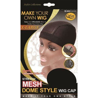 Qfitt X-Large Stretch Mesh Dome Style Wig Cap #5021 - Black - Beauty Krew