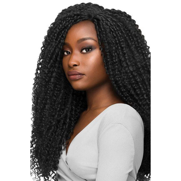 "OUTRE SYNTHETIC HAIR LACE FRONT WIG BRAZILIAN BOUTIQUE 4"" DEEP FREE PART LACE WIG CURLY - Beauty Krew"