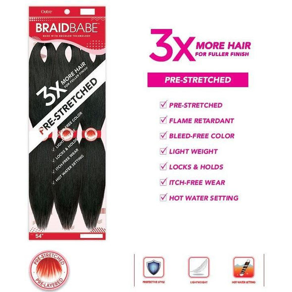"Outre Braid Babe Pre-Stretched Braiding Hair 3pc Pack 54"" - Beauty Krew"