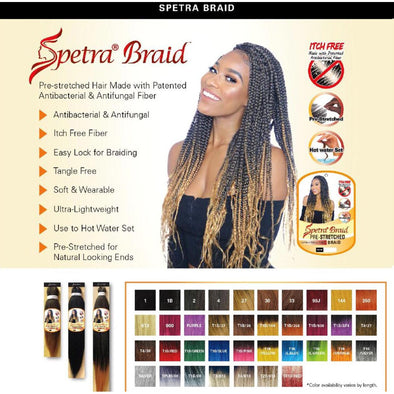 "EZ BRAID Spetra Pre-Stretched Braiding Hair Hot Water Setting Itch Free 100% Premium Fiber Braiding Hair 20"" - Beauty Krew"