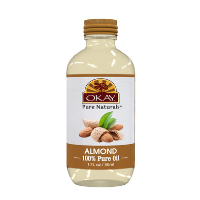 Okay Pure Naturals- Almond Oil 100% Pure Oil- Silicone and Paraben Free-1oz Made in USA