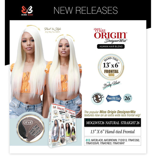 "Bobbi Boss Miss Origin Hand Tied 13x6 Human Hair Blend Lace Frontal Wig- MOGLWST26 Natural Straight 26"" - Beauty Krew"