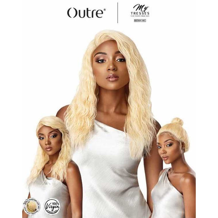 "Outre Mytresses Platinum 100% Virgin HH 360 Lace Wig Natural Wave 18"" - Beauty Krew"