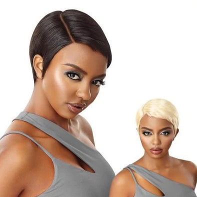 "Outre Premium Duby Diamond 100% Human Hair 6"" Lace Part Lace Front Wig Soft Pixie - Beauty Krew"