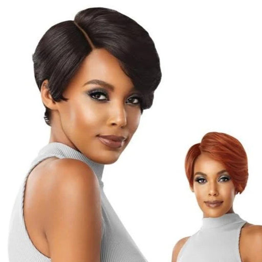 "Outre Premium Duby Diamond 100% Human Hair 6"" Lace Part Lace Front Wig Swooped Bang - Beauty Krew"