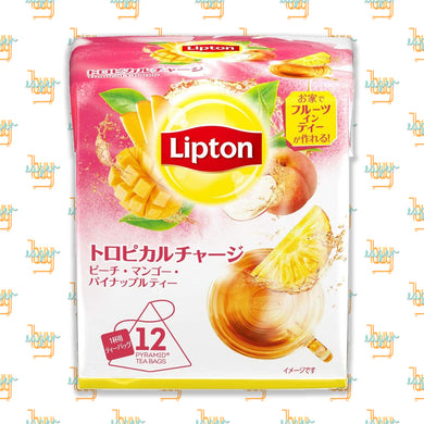 LIPTON - Flavor Tropical Charge Tea (12-Pyramid-Tea-Bag Box) x 6 Boxes