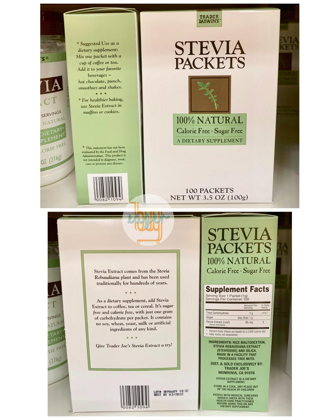TRADER JOE'S - 100% Natural Stevia - 100 Packets