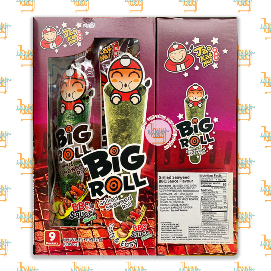 TAO KAE NOI - Big Roll Grilled Seaweed Roll - BBQ Sauce Flavor (9 Packets)