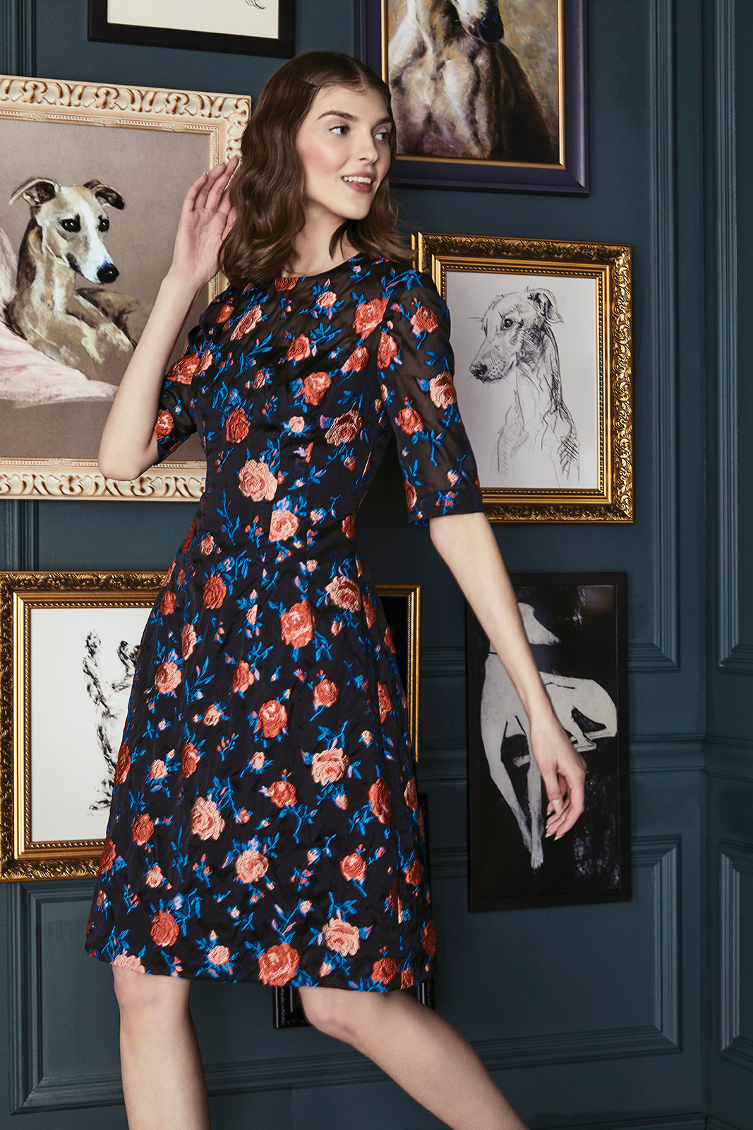 Rose Fil Coupe Holly Elbow Sleeve Dress