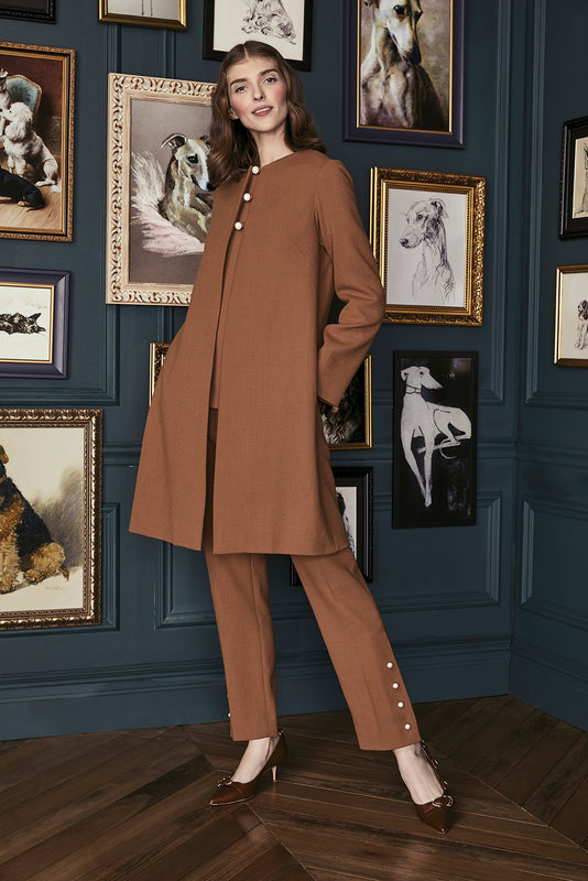 Wool Crepe Pearl Button Coat