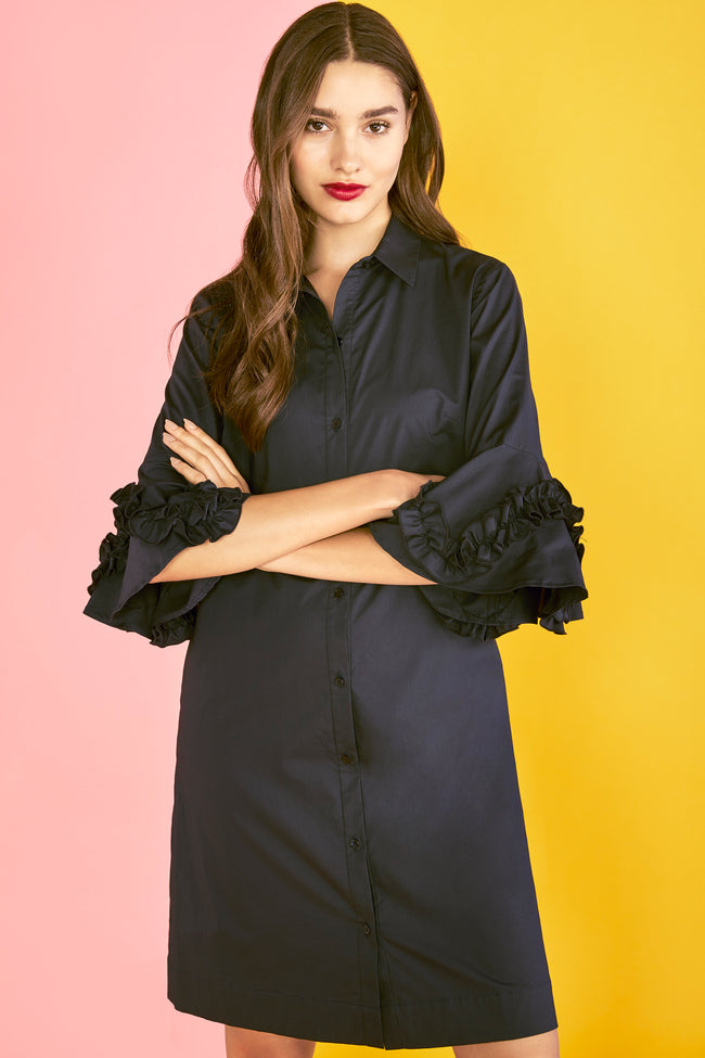 Stretch Cotton Poplin Ruffle Sleeve Shirt Dress