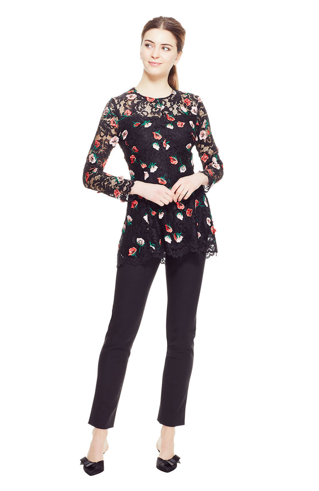 Floral Embroidered Lace Fit and Flare Top