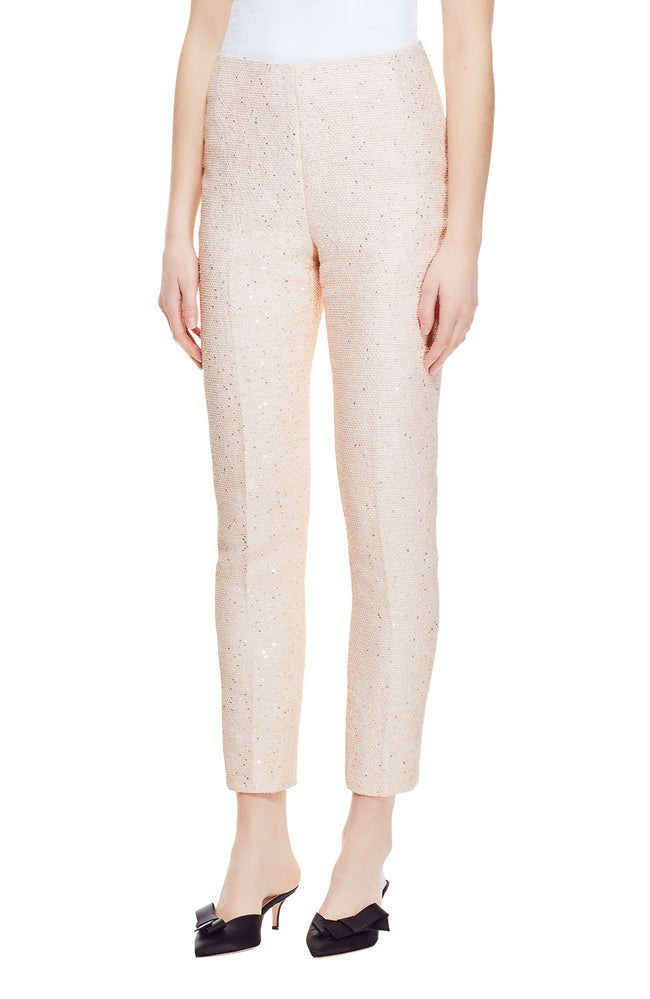 Sequin Embroidered Tweed High Waist Pant
