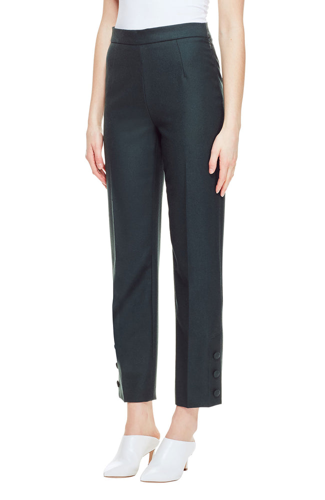 Stretch Wool Twill Button Placket Pant