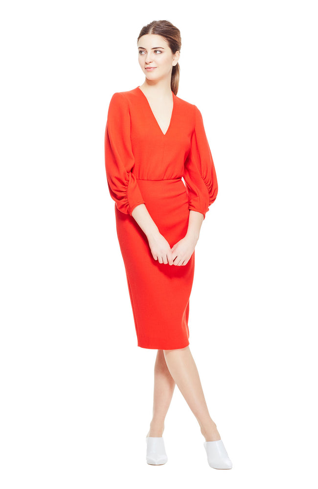 Wool Crepe V-Neck Full Sleeve Fitted Sheath