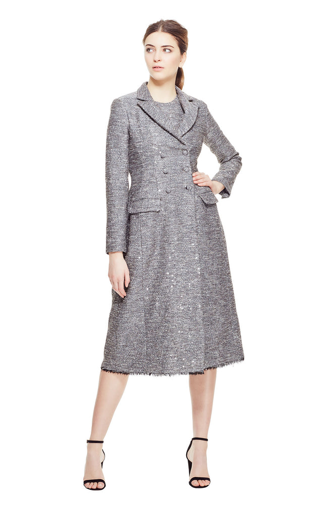 Sequin Embroidered Tweed Seamed Coat
