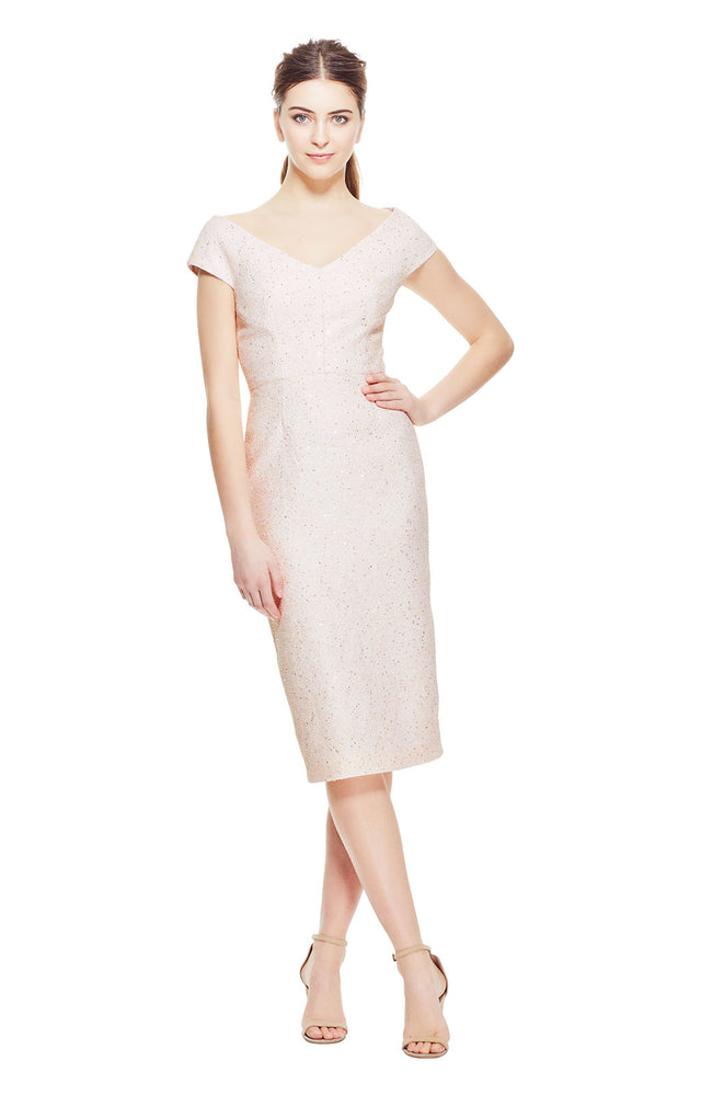 Sequin Embroidered Tweed Open Neck Fitted Sheath