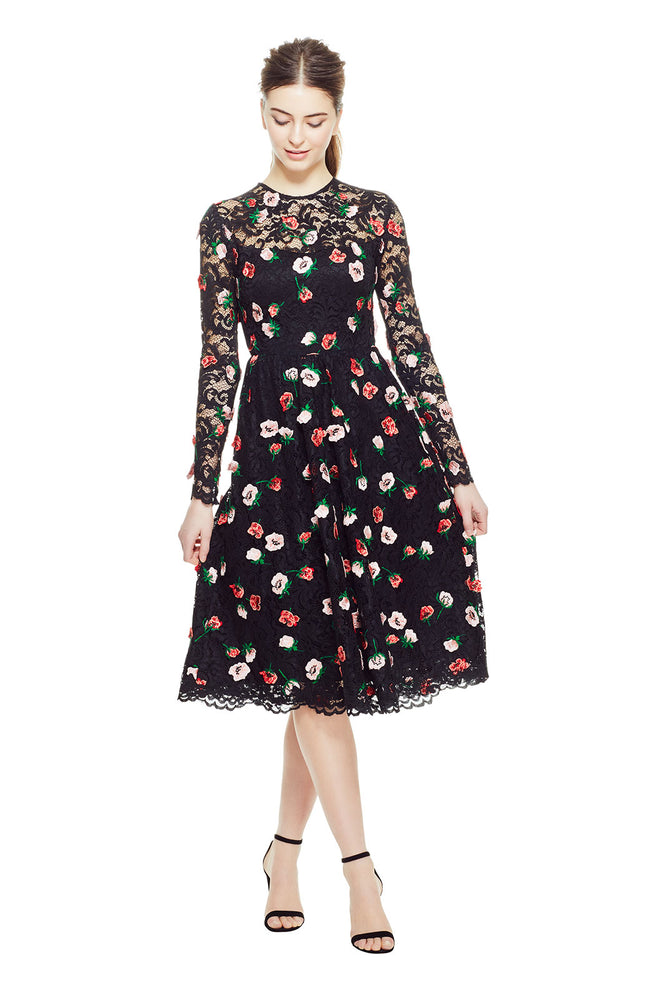 Floral Embroidered Lace Long Sleeve Full Skirt Dress