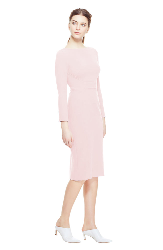 Wool Crepe Seamed Fitted Dress