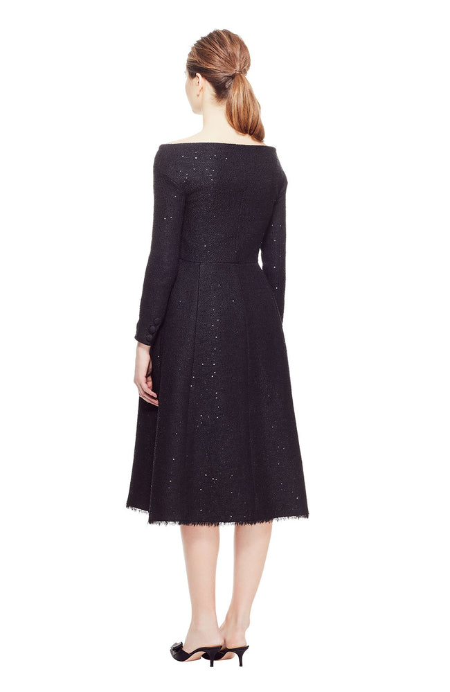 Sequin Embroidered Tweed Open Neck Coat Dress