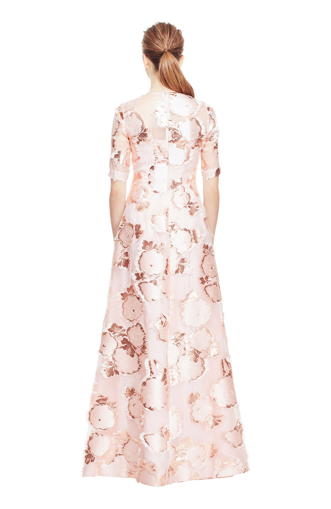 Floral Fringe Fil Coupé Holly Elbow Sleeve Gown