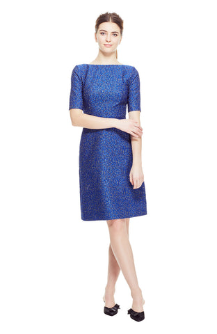 Pebble Brocade Boat Neck Elbow Sleeve Dress